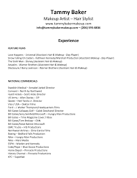 Simple Resume Sample For Hair And Makeup Artist By Tammy Baker