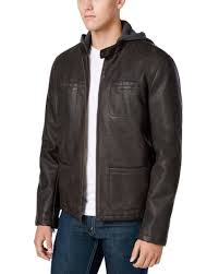 levi s dark brown hooded faux leather jacket size small s faux fur lining