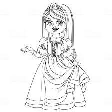 Schattig Meisje In Prinses Kostuum Geschetst Voor De Kleurplaat