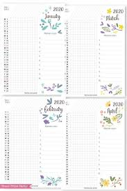 Daily Planner Template 2020 2020 Printable Calendar Template Set Whimsy
