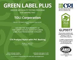 toli cri green label plus corp glp9978 certificate
