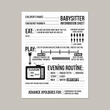 Babysitter Information Sheets Instant Downloadable Babysitter Information Sheet For Etsy