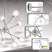 vinluz sputnik chandelier lighting 10 lights glass sphere modern pendant light g9 base ceiling light fixture chrome