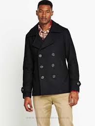 superdry commodity mens slim pea coat mens coats mens coats colour dark navy