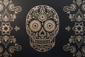 Skull Wallpaper For Bedroom Day Of The Dead Skull Wallpaper
