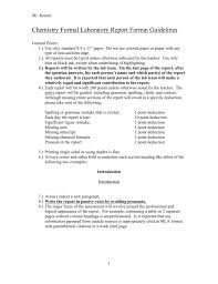 Chemistry Formal Laboratory Report Format Guidelines