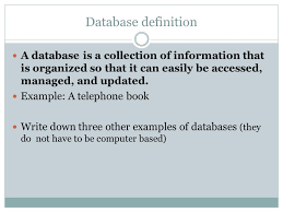 Relational Databases Example Databases Objectives Define What A Database Is Understand The