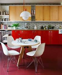 15 inspiring mid century kitchen design ideas rilane turquoise paneled walls with bright orange chairs 24 mid century modern interior