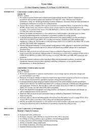 Coding Specialist Sample Resume Certified Coding Specialist Resume Samples Velvet Jobs 12