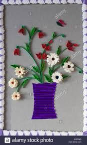 Paper Quilling Flower Frames Paper Quilling Vase Of Flowers On Handcrafted Picture With Origami