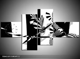 Obraz S Hodinami Abstrakce černo Bílé Pruhy