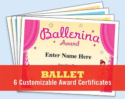 Dance Award Certificate Ballet Certificate Pack Dancing Awards Dance Team Printables Child Certificates Ballet Templates Ballet Certificates Ballet Mom