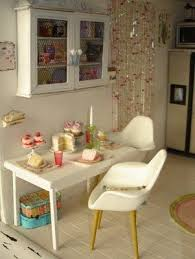 miniature modern furniture. miniature kitchen with eames style chairs modern furniture