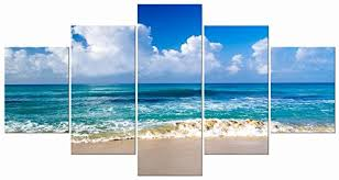 pyradecor seaside sea beach modern stretched and framed seascape 5 panels giclee canvas beachfront decor on beach framed canvas wall art with pyradecor seaside sea beach modern stretched and framed seascape 5