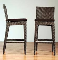 TKC Cape Cod Outdoor Wicker Bar Stools In Vintage Stone Set Of 2 Outdoor Wicker Bar Furniture