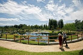 george uribe and wife lupe make their way through the japanese garden at the tillman reclamation the japanese garden in van nuys