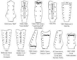 vintage guitars info danelectro silvertone coral vintage guitar Danelectro Longhorn Wiring Harness the following diagram is thanks to paul & doug (as are most of the pictures) it shows the different peghead shapes used on danelectro, silvertone and coral