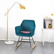 Sobuy Fst68 B Schaukelsessel Schaukelstuhl Relaxstuhl Sessel Aus Samtbuche Blau Belastbarkeit 150k