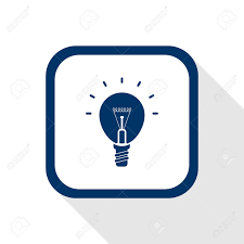 icon lighting. square blue icon lighting bulb with long shadow symbol of idea ideas conception n