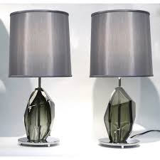 contemporary italian lighting. Donà Contemporary Italian Pair Of Faceted Solid Rock Smoked Murano Glass Lamps - Cosulich Interiors \u0026 Lighting