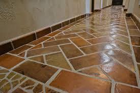 Herringbone Pattern   Manganese Saltillo Tile Rustic Hall