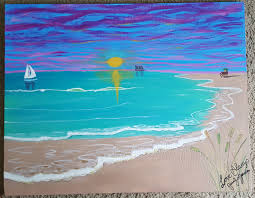 22x28 canvas acrylic painting beach scenery sand water
