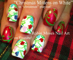 Easy Christmas Nails | Xmas Mittens Nail Art Design Tutorial - YouTube