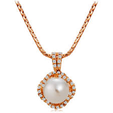 inlaid imitation pearl surrounded by zircon rose gold pendant necklace