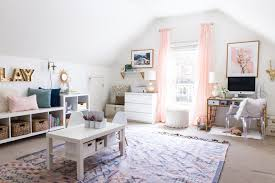 Chic home office Desk Office Playroom Creative Space Kilim Rug Organization Glam Thecreationinfo Chic Home Office And Playroom Combination Bsht Style Your Senses
