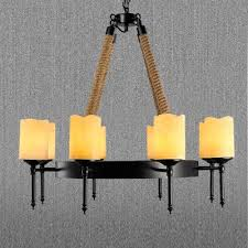 large dinning room 8 light rope led chandelier with beige frosted glass shade