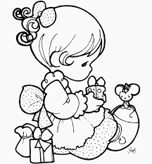 Beautiful Precious Moments Girl Coloring Page