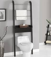 Black Wooden Finished Over The Toilet Storage With Towel Hanger ...