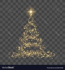 Gold Tree Lights Christmas Tree On Transparent Background Gold