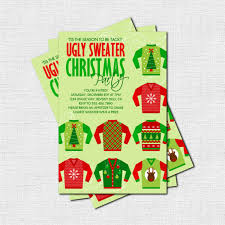 part invites christmas ugly sweater party invitation card with pale green