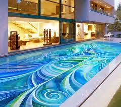 best swimming pool design.  Best Mid Century Home Architecture With Modern Small Swimming Pool Design Using  Exquisite Abstract Mosaic Tiles Best D