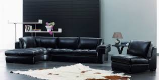 Living Room Black Leather Sofa Minimalist Brown Wooden Table Beside White Leather Sofa Laid On