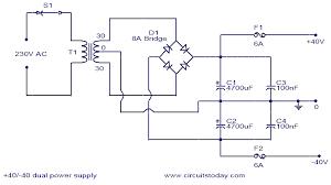 power supply circuit diagram info 40v dual power supply electronic circuits and diagram wiring circuit