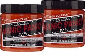 Manic Panic Psychedelic Sunset Orange Hair Color Cream 2 Pack Classic High Voltage Semi Permanent Hair Dye Vivid Shade For Dark Light Hair Vegan