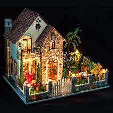 diy houses love apartment creative cabin model assemble wooden miniature doll house gifts dollhouse furniture toys