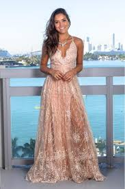 Rose <b>Gold Printed</b> Maxi <b>Dress</b> with Criss Cross Back | Maxi <b>Dresses</b> ...