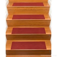 naturalarearugs halton polyester carpet stair treads handmade rubber backing durable stain resistant red set of 13