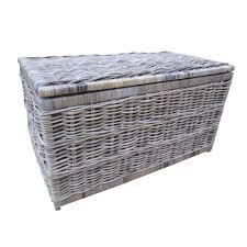 large wicker storage trunk. Plain Trunk Grey U0026 Buff Rattan Wicker Storage Trunk  Chest And Large