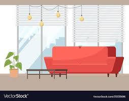 living room red sofa against vector image