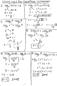 worksheet worksheets solving exponential equations algebra 2 and logarithmic functions pdf