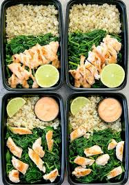 Weekly Lunch Prep Bang Bang Chicken With Cauliflower Rice Meal Prep