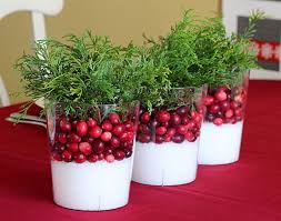 cranberry holiday decoration or table centerpiece