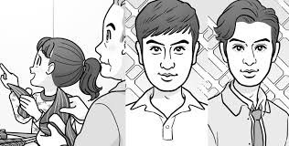 端午の節句でちまきを食べる家族のイラスト新旧イケメン有名人の似顔絵