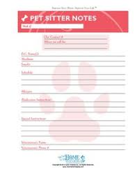 Pet Sitting Instructions Template House Sitting Instructions Form