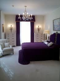 Bedroom:Classy Purple Bedroom With Dark Purple Bed And Purple Headboard  Under Crystal Chandeliet Plus
