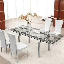Dining Tables Charming Expandle Glass Dining Table And White